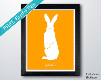 Personalized Standing Rabbit Silhouette Print with Custom Message