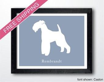 Personalized Lakeland Terrier Silhouette Print with Custom Name - Lakeland Terrier art, dog gift