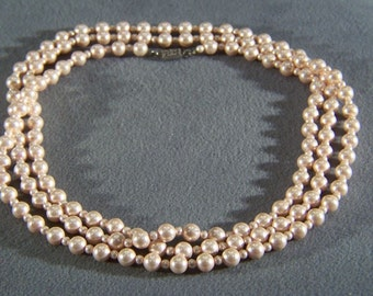 Vintage Single Strand Balta Faux Multi Round Pink Faux Pearl Necklace W **RL