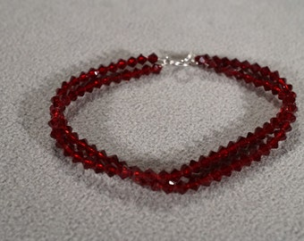 Vintage Art Deco Style Ruby Red Victorian Glass Diamond Shaped Beads Double Stranded Bracelet Jewelry      KW20