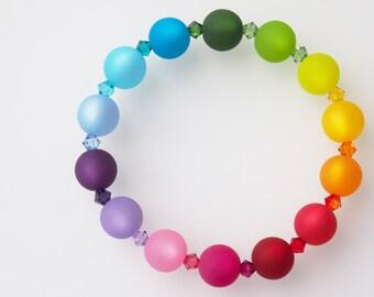 rainbow bracelet flexible bracelet rainbow bracelet polaris pearls colorful with Swarovski® Kristallen