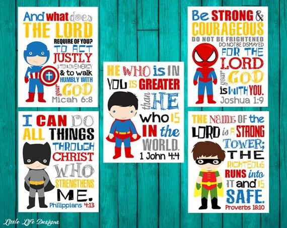 Superhero Wall Art Seek Justice Micah 6 8 1 John 4 4
