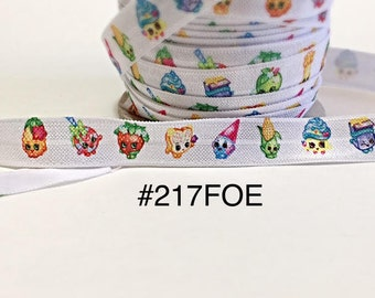 "2/3/5 yard - 5/8"" Shopkin and Friends on White Fold Over Elastic Headband Hair Accessories"