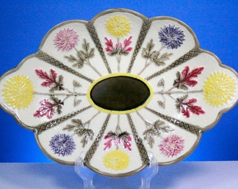 1800s Antique Floral Wedgwood Majolica Platter