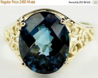 Summer Sale, 30% Off, R057, London Blue Topaz, 10KY Gold Ring