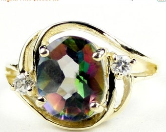 Valentines Sale 30% Off, R021, Mystic Fire Topaz, 10KY Gold Ring