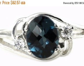 Valentines Sale 30% Off, SR176, London Blue Topaz, 925 Sterling Silver Ring