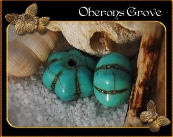 10 turquoise Magnesite Beads 13x7,5mm