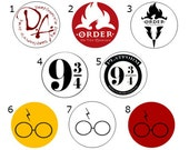 Harry Potter Buttons, Harry Potter Pins, Harry Potter Magnets - Dumbledore's Army, Order of the Phoenix, 9 3/4, Glasses, Hogwarts