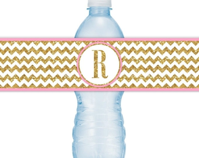 Printable Gold Chevron and Pink Water Bottle Labels, CUSTOM Gold Monogram, you print, you cut, DIY