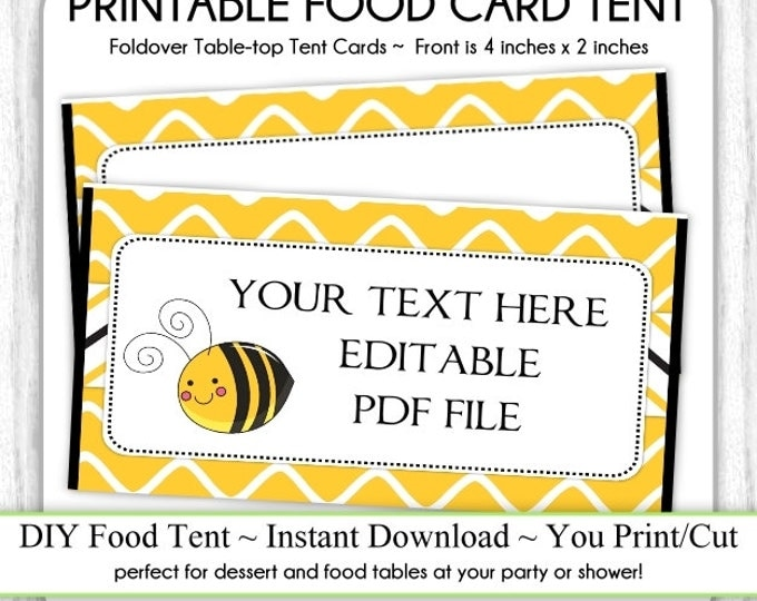 Honey Bee Tent Cards, Bumble Bee Birthday Party Food Card, Bee Food Tents, foldover, You Print, DIY, Instant Download, EDITABLE