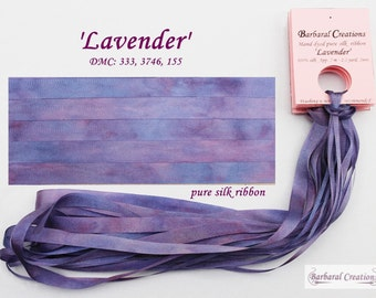 Hand dyed 13 mm wide pure silk ribbon - 'Lavender'