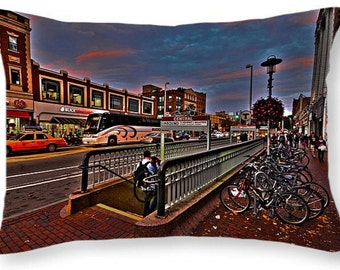 Central Square Throw Pillow, Cambridge Pillow, Central Square MBTA