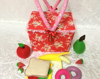 Picnic Basket and Felt Food- FREE SHIPPING - CLEARANCE
