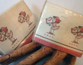 Lipstick tissues, vintage Brownie Lipstick tissues, S.W.A.K., Sealed With A Kiss lipstick tissues, set of 2