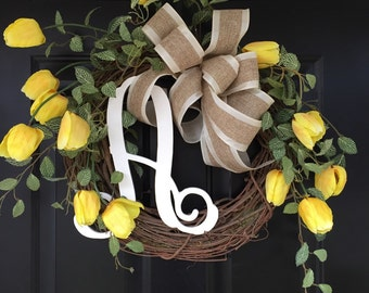 Yellow Tulip Wreath - Gift for Her - Wreath - Monogrammed Gift - Spring Wreath - Shabby Chic Country Design Wreath - Wreaths - Gifts for Mom