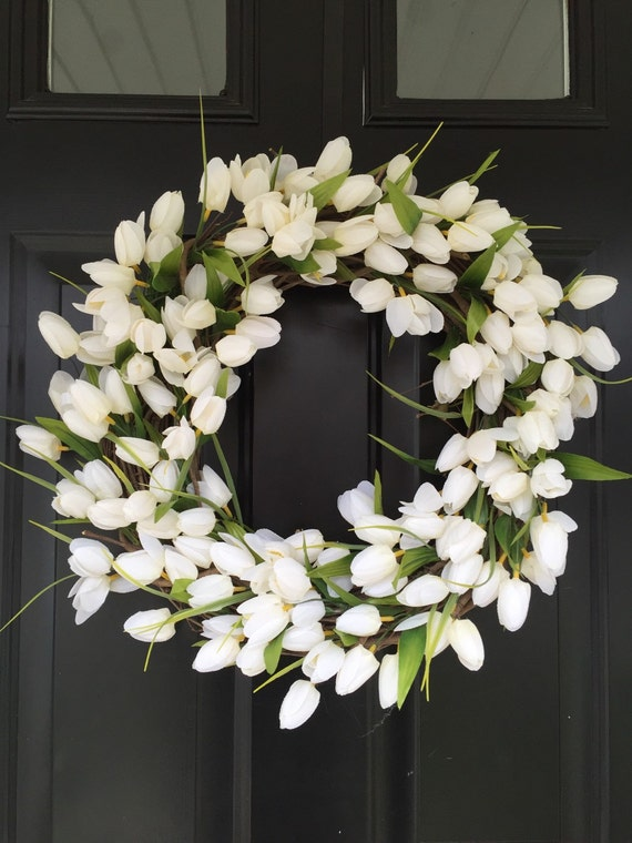 white tulip wreath spring wreath wreath monogrammed
