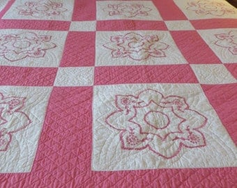 Vintage Quilt  in Pink and White  //  Embroidered Blocks and Heavily Hand Quilted  //  Antique QUilt  //  Cotton  //  Hand Applied Binding