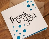 Thank You Curls Card - blank inside for your own message. Free UK shipping!