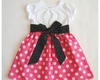 Pink Minnie dress**Mickey Mouse dress**Toddler girls dress**White, pink polka dots, black sash**Dress for Disney World**Minnie Mouse dress