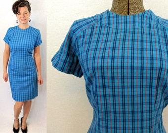 1960s Dress / 60s Dress / 50s Dress / 1950s Dress / Large Wiggle Dress / Wiggle Dress Large / Large Dress / 60s Large Dress / Plaid Dress