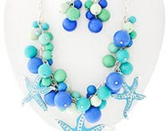 Starfish Cluster Necklace with Earrings, Sea Life Statement Necklace, Shades of the Sea Necklace, Starfish Necklace