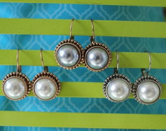 Beautiful Pearl Earrings, Pearl Earrings, French Lever Earrings