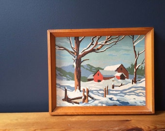 Vintage Paint By Number Snowy Barn Winter Landscape in Wooden Frame by Craft Master PBN