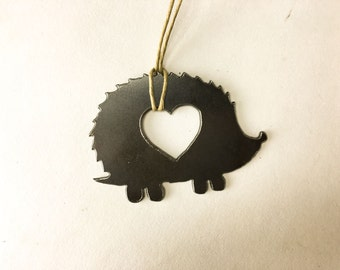 FREE SHIPPING Heart Hedgehog Steel Ornament or Decoration