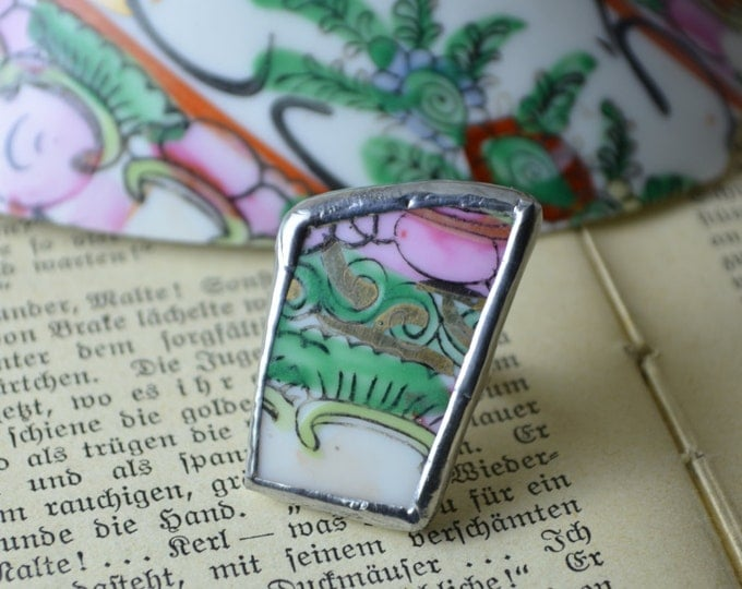 Porcelain multicolor ring made from the big vintage Chinese vase