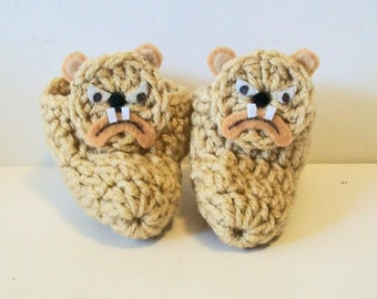 Cute Light Brown Tan Bulldog Hand Crocheted Baby Bootie Shoes Great Photo Prop Matching Hat & Bib Also Available