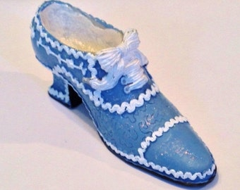 ON SALE - Collectible Miniature Light/Dark Blue with White High Heel Ankle Boot