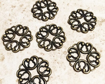 6 pcs, Filigree Links or Connectors, Tibetan Style, Antique Bronze