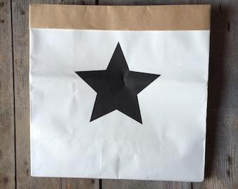 Black white container basket star