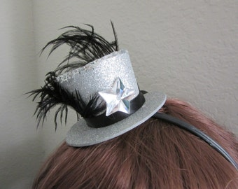 Mini top hat headband - silver sparkle mini topper headband - topper headband - top hat headband - silver fascinator