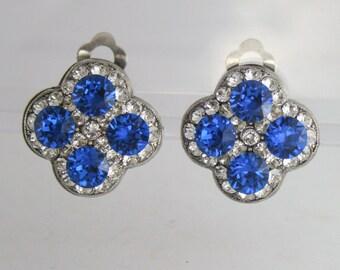 Clip on earrings,ballroom dance earrings,competition jewelry,swarovski clip on earrings,blue clip on earrings,clipon earrings,art deco clip