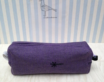 Handmade Textile Bag Linen Striped Lining Embroidered Dandelion Clock Silk Lining