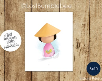 Vietnamese Culture and traditional Ao Dai, Printable home decor from our Tiny Human Peoples Collection by LostBumblebee, Size: 8x10
