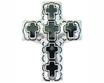 BULK 4 Southwest Silver Cross Pendant for Bead Stringing 56x42mm by TIJC SP1152B