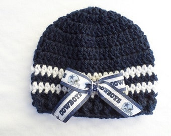 Baby Hat, Dallas Cowboys, Hand Crochet, sizes Newborn, 3-6 months