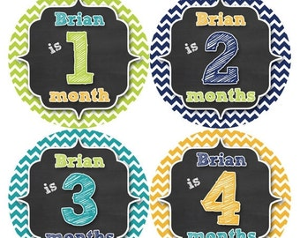 PERSONALIZED Baby Boy Month Stickers Monthly 12 Month Sticker Monthly Baby Stickers Baby Shower Gift Photo Prop Milestone Sticker 496