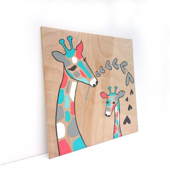Baby girl nursery art giraffe nursery decor baby shower for Baby girl nursery paintings