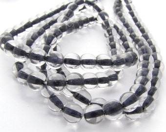 Black Lined Crystal 6mm Smooth Round Czech Glass Beads #1714