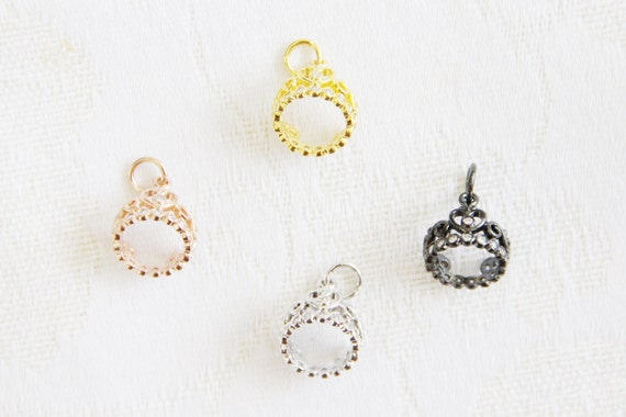 CZ Micro Pave 13mm Crown  Charm with Jump Ring