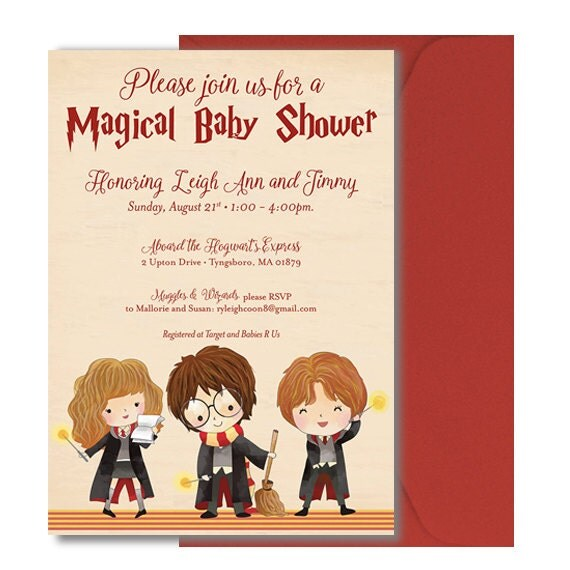 Harry Potter Baby Shower: Harry Potter Baby Shower Invitation Harry By DOODLEBOXdesigns