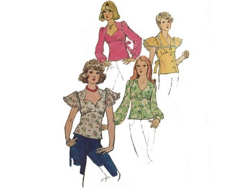 Misses Blouse, Long or Butterfly Sleeves, V or Sweetheart Neck, Tie in Back, Plus More, Size 10, Bust 32 1/2, Simplicity 6290