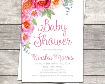 Floral Baby girl shower invitation, flower roses baby shower, floral pink watercolor, printable files