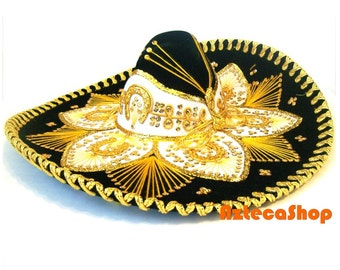 Authentic Mexican Charro Sombrero Black with White and Gold Accents Premium Hat