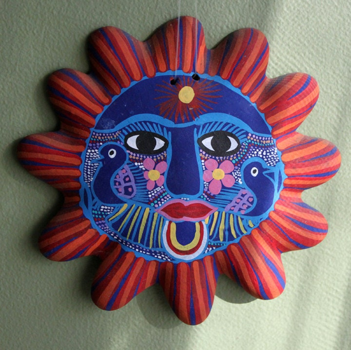 Mexican Terracotta Wall Sconces : Wall Decor. Hand Painted Terracotta Sun. Mexican Art Home