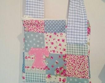 Personalised Girls Bag, Patchwork Bag, Toddler Bag, Across body Bag, Messenger Bag, Evie Bag, Blue Bag